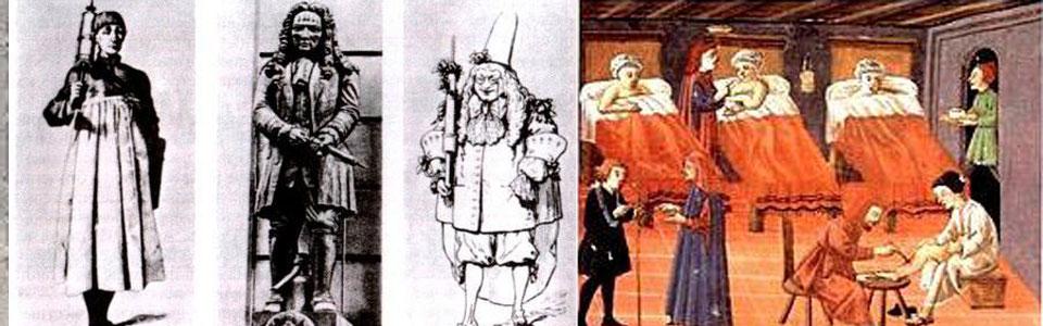 Средневековый врач с клистиром. Врачи и пациенты Италия.